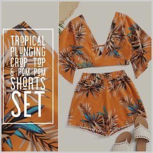 NWOT: Tropical Crop Top & Pom Pom Shorts Set